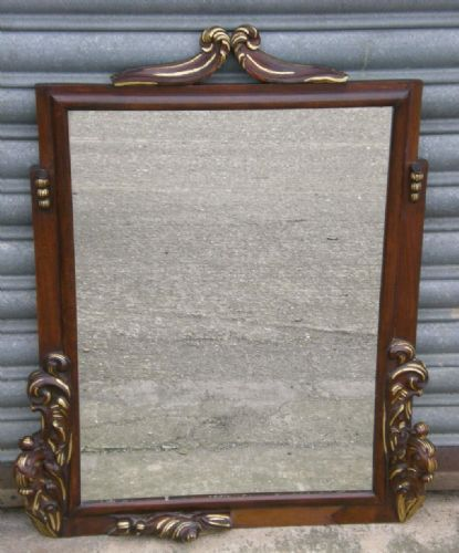 Mahogany Framed, Hanging Wall Mirror with Gilt Mounts